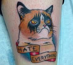 grumpy cat tattoo could impress even the crankiest kitty