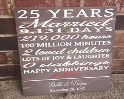 25 year anniversary gifts days hours minutes etsy