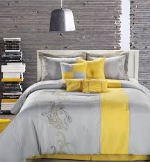 gray and yellow master bedroom twin blue table lamp on bedside
