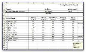 Attendance Spreadsheet Weekly Attendance Sheet