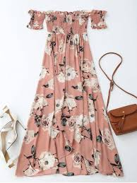 maxi dress shoulder shirred slit floral maxi dress pink maxi dresses s