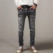 Mens Destroyed Skinny Jeans Fashion Distressed Ripped Skinny Jeans Men Street Wear Skateboard