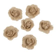 Flowers For Crafts - 6pcs hessian burlap flowers for crafts rustic wedding decor 4 5cm
