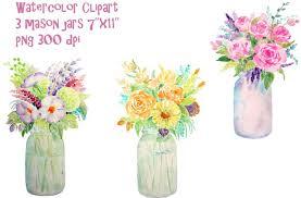 jar flowers watercolor vase of flowers jar illustrations creative market