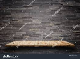 Wood Plank Shelves by Empty Top Wooden Shelves Stone Wall Stock Photo 296234840