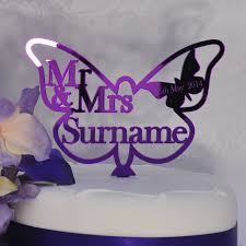 butterfly cake toppers personalised wedding mr mrs butterfly cake topper purple mirror