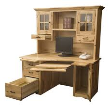 Home Computer Desks With Hutch Amish Rustic Mission Wedge Computer Desk Hutch Cpu Cabinet Wood