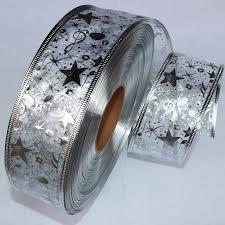 wire edged ribbon 50mm wide silver ribbon gauze ribbon printing christmas tree