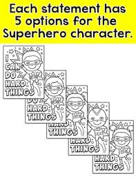 growth mindset superhero coloring pages pink cat studio tpt