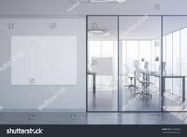 office interior modern office interior equipment blank poster stock illustration