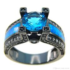 blue opal 2018 new blue opal female ring blue round zircon black gold filled