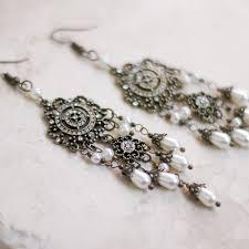 Vintage Pearl Chandelier Earrings Ellie Earrings Antique Gold Nad Pearl Earrings 4