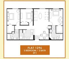 Floor Plan Of 3 Bedroom Flat 3 Bedrooms 2 Baths The Flats At Avalon Park The Flats At