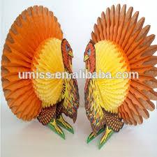 thanksgiving turkey decoration factory supply tissue honeycomb paper turkey decoration for