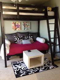 bunk bed with sofa underneath pallet couch we wanted a comfy couch area for under our 14 yr old