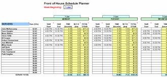 Restaurant Employee Schedule Template Excel by Restaurant Software Spreadsheets Employee Schedule Planner