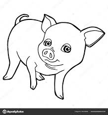 Cartoon Cute Pig Coloring Page Vector Stock Vector Attaphongw Pig Coloring Pages