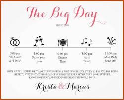 wedding itinerary wedding schedule template sop exle