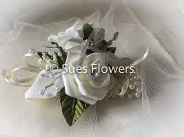 wedding wrist corsage wedding flowers ivory pearl bracelet wrist corsage co uk
