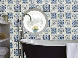 wallpaper john u0027s u2013 moroccan tile effect in blues u0026 cream