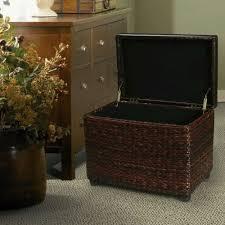 new brown storage ottoman stool with bulrush rattan wicker weave