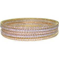 stackable bracelets diamond and 18k gold bangle stackable bracelets at 1stdibs