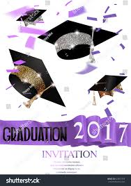 Invitation Card Graduation Graduation 2017 Invitation Card Purple Curly Stock Vector