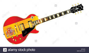 Spainish Flag The Definitive Rock And Roll Guitar With The Spanish Flag Isolated