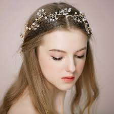 bridal hair accessories pearl gold bridal headband tiara ewahp024 as low as 70