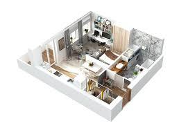 sqm modern small apartment interior design idea with a walkin
