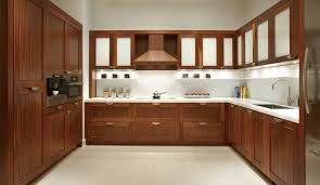 modern kitchen furnished with walnut kitchen cabinets and hanging