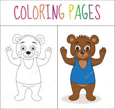 coloring book page bear sketch and color version coloring for