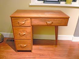 Small Desk Brown Furniture Home Interior Corner Brown Wooden Deskw Ith Drawers On