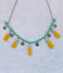 tassel necklace images Vibrant yellow tassel necklace jpg