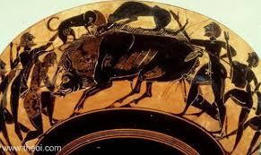 Greek Black Figure Vase Painting Calydonian Boar Hunt Ancient Greek Vase Painting