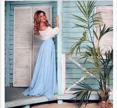 baby blue off the shoulder maxi dress ivo hoogveld