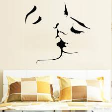 romantic lovers kissing wall decals living room bedroom removable the size for our wall sicker refers to the size of images shown on the wall the effect chart for reference only please carefully to refer to our size