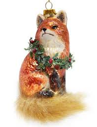 december diamonds glass ornament fox with wreath home page