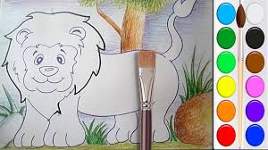 how to draw and color a lion for children with water colors draw a