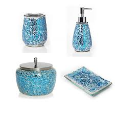 modern bathroom soap dispenser aqua sparkle mosaic bathroom accessories set ebay 3pc modern