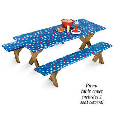 elasticized picnic table covers 4th of july star elastic picnic table cover from collections etc