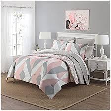 Amazon Com 3pc Girls Light Pink Grey White Geometric Polkadot Theme