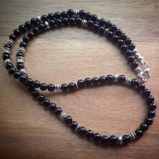 beaded necklace design images Beaded necklace with black onyx beads and silver spacer beads JPG