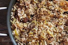chicken sausage brown rice with celery and mushrooms