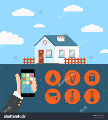 concept of smart house or home technology system with save to a