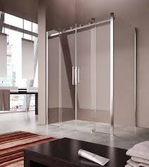 cool corner shower bathroom design featuring glass doors with