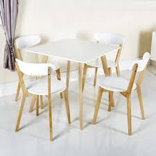 scandinavian solid oak wood white dining chairs with white mdf