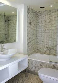 two tone glass mosaic bathroom wall with white stained oak wood