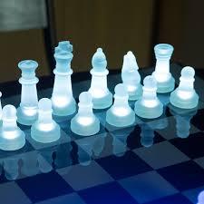 lumisource led glow chess set blue white ebay