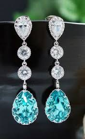 turquoise bridal earrings swarovski cyrstal tear drops with cubic zirconia connectors bridal